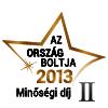 Ország Boltja 2013 Minőségi díj Szépségápolás és egészség kategória II. helyezett